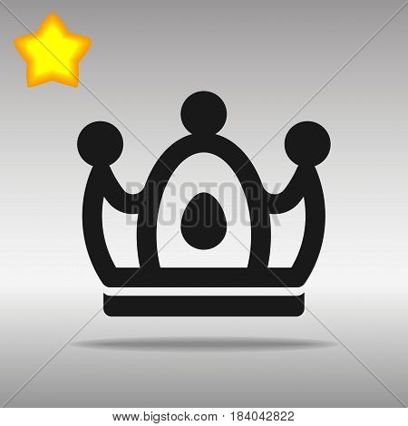 Crown black Icon button logo symbol concept high quality on the gray background