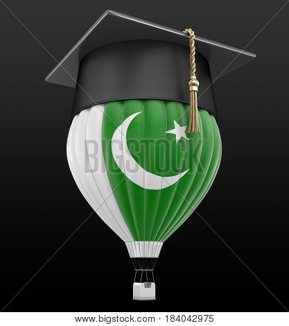 3D Illustration. Hot Air Balloon with Pakistani flag and Graduation cap. Image with clipping path