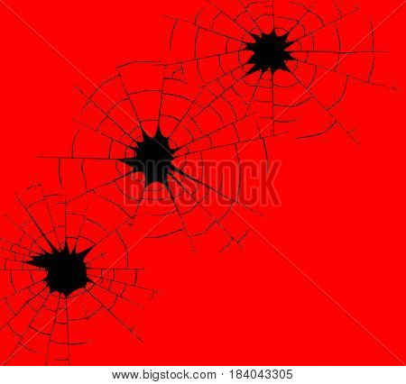 Three bullet holes in black line over a red background