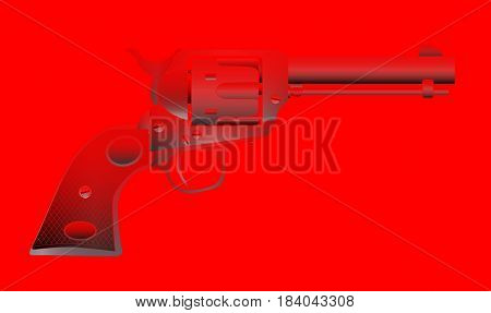A wild west red hot six gun isolated over a red background