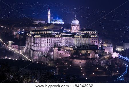 Night view of Buda castle in Budapest, view from Gellert Hill, popular landmarks of the Hungarian Capital