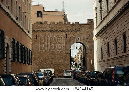 VATICAN CITY - MAY 9: Street view with historical buildings on May 9, 2016 in Vatican City. It is the smallest state in the world.