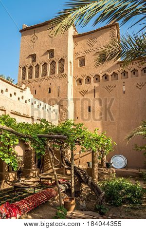 AMRIDIL, MOROCCO - APRIL 3,2017 - Inside the Amridil Kasbah at Skoura oasis in Morocco. The Kasbah Amridil has originally built in the 17th century.