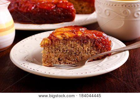 Caramel banana upside down cake on plate