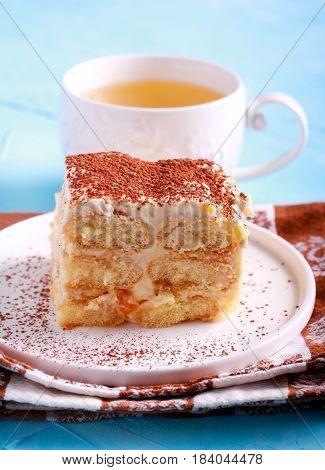 Slice of tiramisu like dessert cake on plate