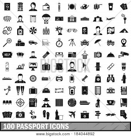 100 passport icons set in simple style for any design vector illustration