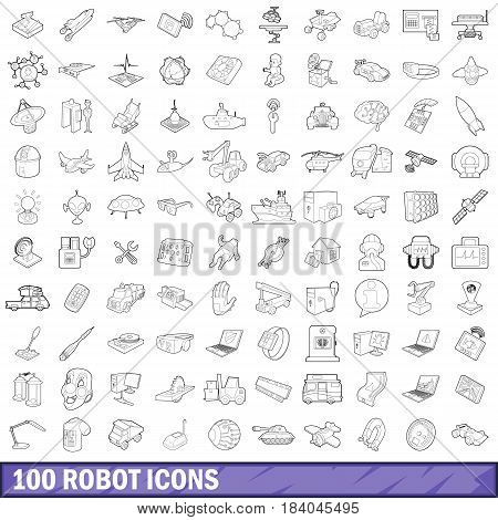100 robot icons set in outline style for any design vector illustration