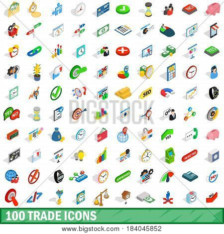 100 trade icons set in isometric 3d style for any design vector illustration