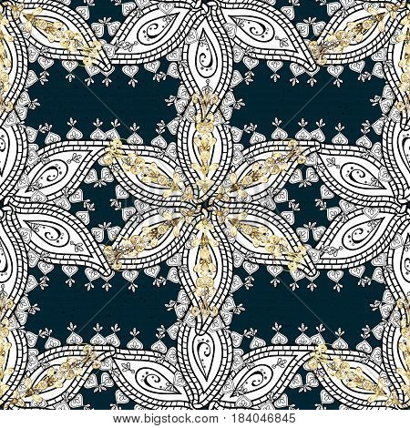 Vector traditional orient ornament. Golden pattern on blue background with golden elements. Classic golden pattern.