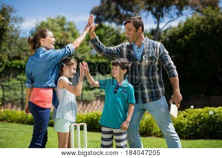 Family giving high five to each other while playing cricket in the park