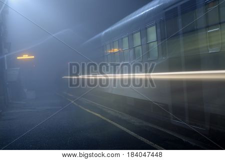 A North Italy station wrapped in fog - Italy