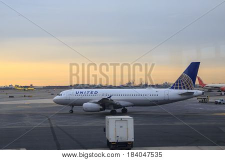 At newark airport newark NJ - December 31 2016: United airlines airplane in the newark airport.
