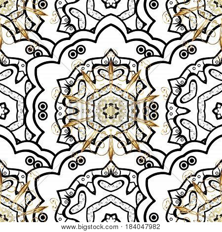 Seamless classic vector golden pattern. Golden pattern on white background with golden elements. Traditional orient ornament. Classic vintage background.