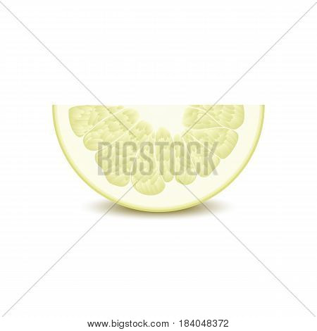 Isolated half of circle juicy yellow color pomelo with shadow on white background. Realistic colored slice