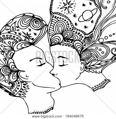 vector kissing couple in doodle style on doodle background. Can be used as card, invitation, background, adult coloring book. Hand drawn style. Wedding invitation. Zentagle. st. Valentine's day card.