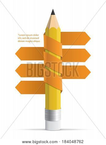 Pencil With Ribbons Arrow Illustration Infographics Template Illustration Vector For Plan Design Pre