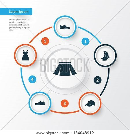 Dress Icons Set. Collection Of Sneakers, Elegance, Dress And Other Elements. Also Includes Symbols Such As Gumshoes, Male, Socks.