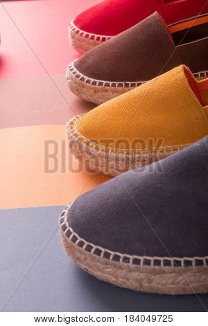 Loafers On Multicolor Background. Close Up. Four.