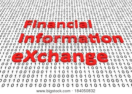 Financial information exchange in the form of binary code, 3D illustration
