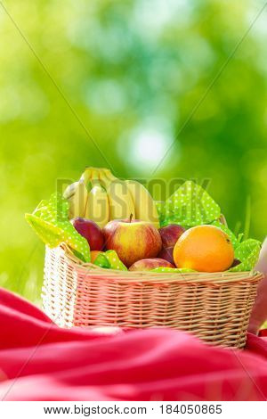 Relaxation during summertime concept. Picnic basket with fruit on red blanket in woods
