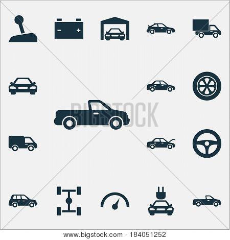 Automobile Icons Set. Collection Of Lorry, Accumulator, Auto And Other Elements. Also Includes Symbols Such As Battery, Wheelbase, Van.