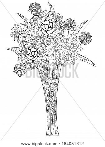 Vector illustration bouquet of three rosesrk. Coloring book for adults. Anti-stress coloring for adult. Zentangle style flowers. Black and white lines. Lace pattern