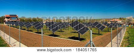 Panoramic View Of Solar Power Station - Alternative Electricity Source