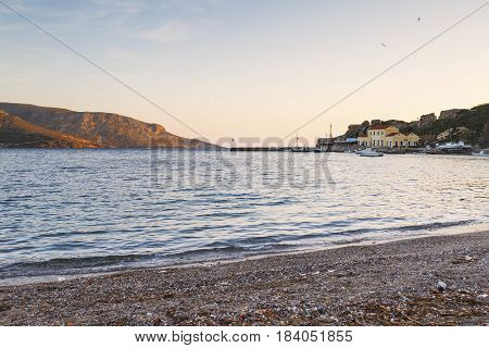 Small harbor in Agia Marina village on Leros island in Greece early in the morning.