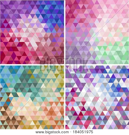 Vector set of triangular colorful mosaic faceted backgrounds, abstract patterns