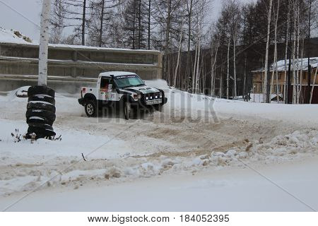 Kholdomi, Russia - February 26, off-road sprint Knigomania: off-road vehicles during the annual competitions on the jeep-sprint February 26, 2017 Russia