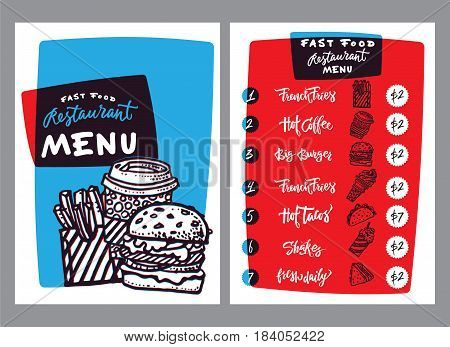 Fast food menu design and fast food hand drawn vector illustration. Restaurant or cafe menu template with burger sketch. Fast food menu cover layout with breakfast, drinks, sweet and other menu items lettering