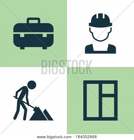 Building Icons Set. Collection Of Equipment, Glass Frame, Maintenance And Other Elements. Also Includes Symbols Such As Glass, Builder, Maintenance.
