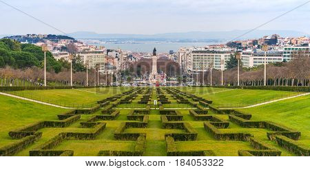 Lisbon - December 2014, Estremadura Province, Portugal: Wide angle panorama of Lisbon, view on Marquis of Pombal Square in cloudy day