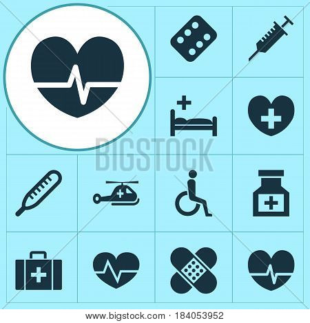 Medicine Icons Set. Collection Of Handicapped, Drug, Mercury Elements. Also Includes Symbols Such As Heal, Care, Copter.