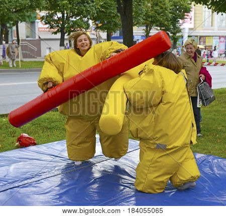 August 16 2015: Children compete in merry martial arts in funny costumes. Cheboksary. Russia.