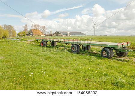 Farm with a windmill in Ferwoude in Friesland Netherlands.