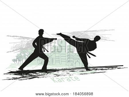 creative abstract illustration of karate fighters silhouette