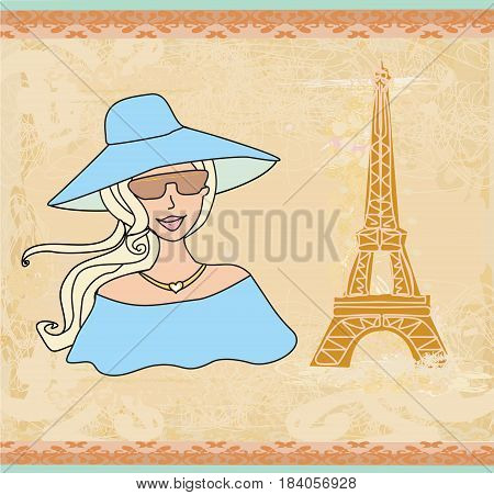 Beautiful tourist woman portrait in Paris , vector illustration