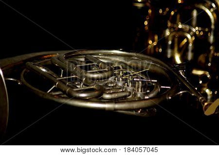 Abstract Creative French Horn  Musical Instrument Scene