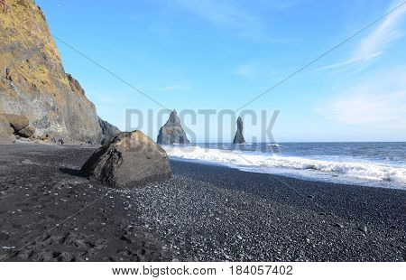 Beautiful Reynisfjara black sand beach in southern Vik Iceland.