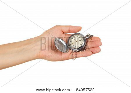 Pocket's Clock In The Woman's Hand, Isolated