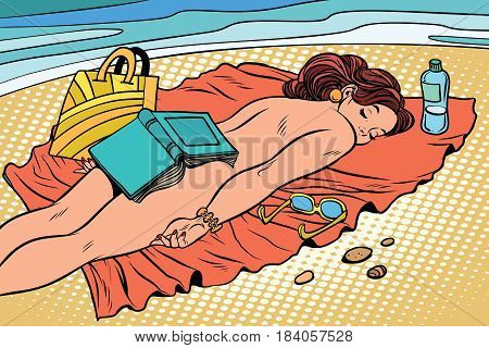 Naked woman sunbathing on the beach. Beautiful girl with book. The rest of the sea. Tourism and travel. Comic book cartoon pop art retro style vector illustration
