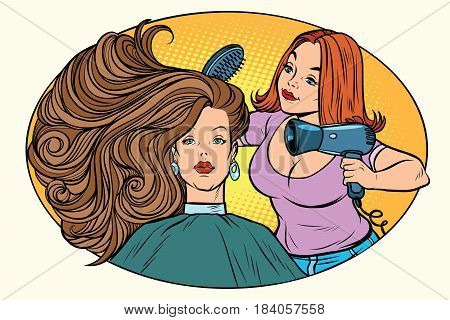 blow drying women hair Barber. Comic book cartoon pop art retro style vector illustration