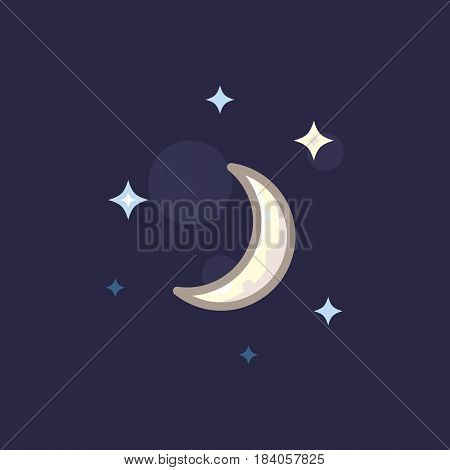 Vector icon in style linework moon and star on dark background. Illustration style linework night sky with moon and stars