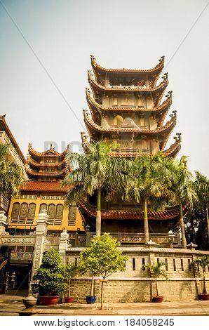 Pagoda of Tran Quoc temple in Hanoi Vietnam. retro filter