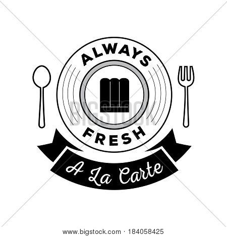 always fresh food guarantee logo with a la cate ribbon spoon and fork symbol