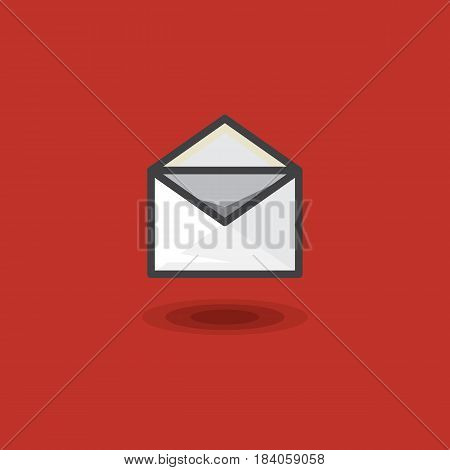 Vector icon in style linework message in open letter envelope on red background. Illustration style linework web message