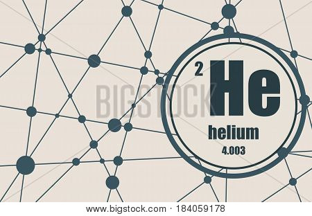 Helium chemical element. Sign with atomic number and atomic weight. Chemical element of periodic table. Molecule And Communication Background. Connected lines with dots.