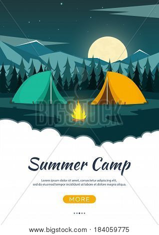 Summer Camp. Night Camping. Campfire. Pine Forest And Rocky Mountains. Starry Night And Moonlight. N