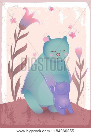 Bear mother with her cub - cartoon animal characters. Greetings card template for Mothers Day.